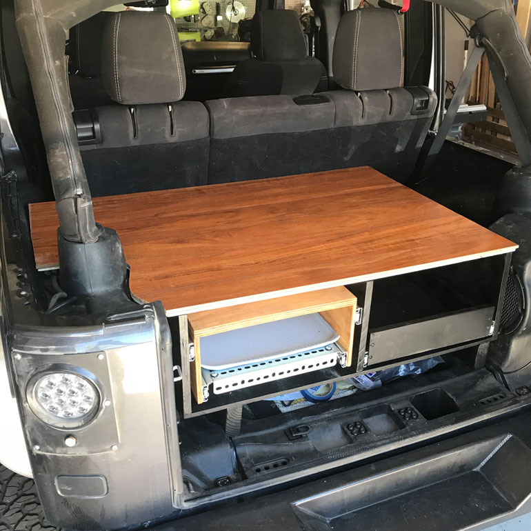 DIy Jeep Build Storage Drawers for cooler, stove, table and cutting board. Overland Accessories.