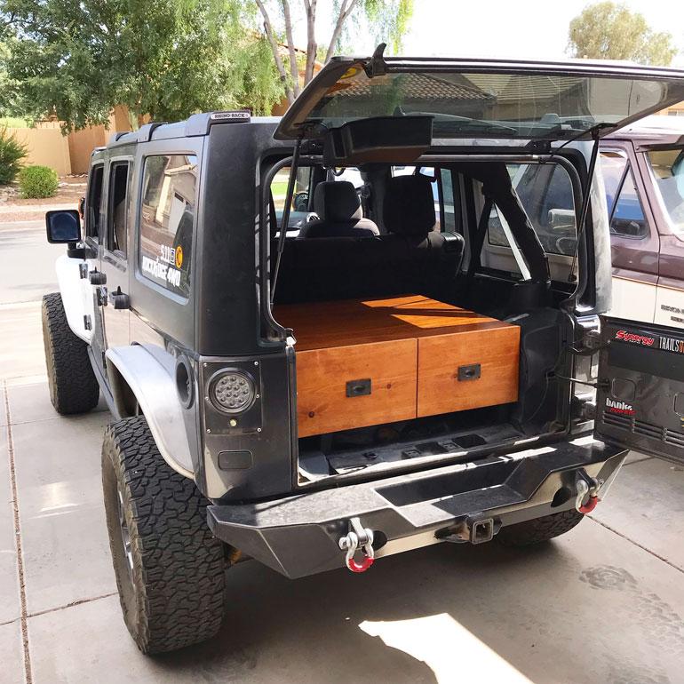 DIY Jeep storage drawers.  Best DIY overland accessories.