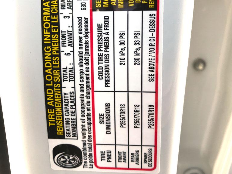 Tire Pressure Sticker on Vehicle Door Jam
