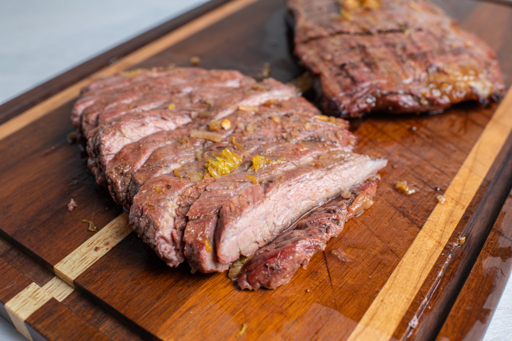 Orange Marinated Flank Steak for our burritos.